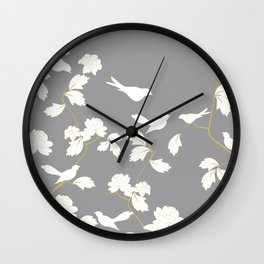 Bird and Branches Floral Pattern Grey and White Wall Clock