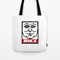bill Tote Bags featuring BILL by KINGOFTHERATS