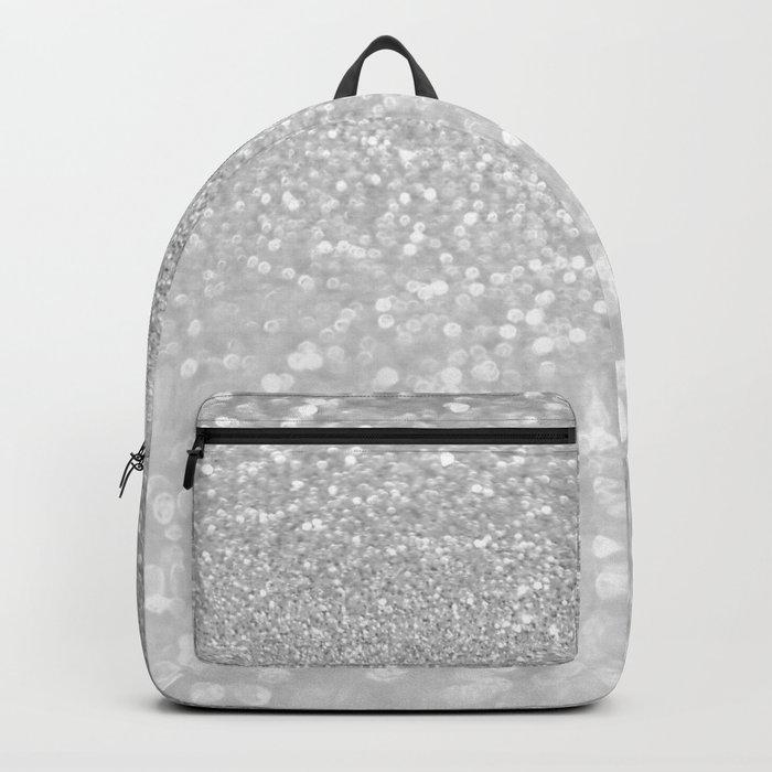 Diamonds are girls best friends III- Silver elegant glitter effect Backpack