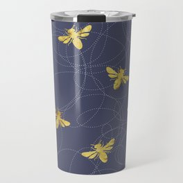 Flying Gold Bees On A Dark Blue Background Travel Mug