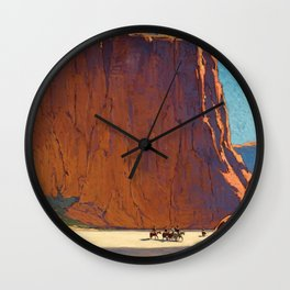 Sunset on the sandstone cliffs, Canyon de Chelly Landscape by Edgar Alwin Payne Wall Clock
