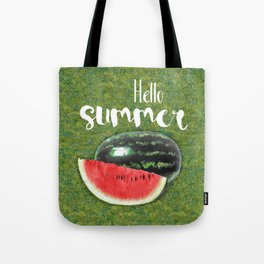 Hello Summer // Green + Red Watermelon Tote Bag