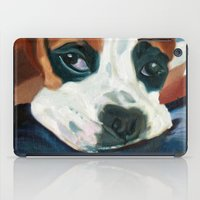marley iPad Cases featuring Marley the Boxer Dog Original Portrait Painting by Barking Dog Creations Studio
