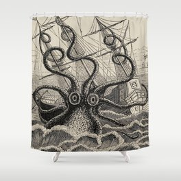 "The octopus; or, The ""Devil-fish"" - Henry Lee - 1875 Giant Octopus Sinking Ship Shower Curtain"