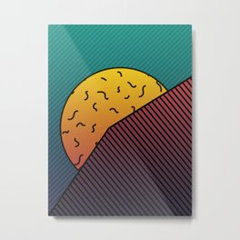 Hidden Sunset behind a mountain Graphic Design Minimal Art Metal Print