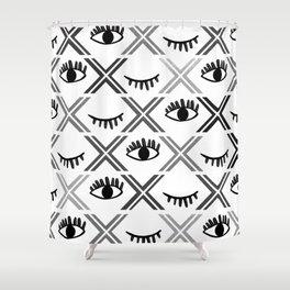 Original Black and White Eyes Design Shower Curtain