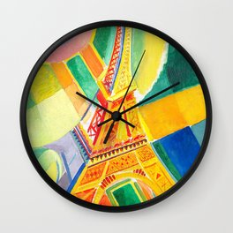 Robert Delaunay - Tour de Eiffel - Eiffel Tower - Abstract Colorful Art Wall Clock
