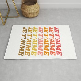 Je T'aime - French for I Love You in Warm Red, Orange, and Yellow Colors Rug
