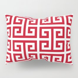 Pomegranate Red and White Greek Key Pattern Pillow Sham