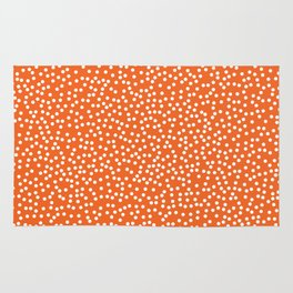 Persimmon and White Polka Dot Pattern Rug