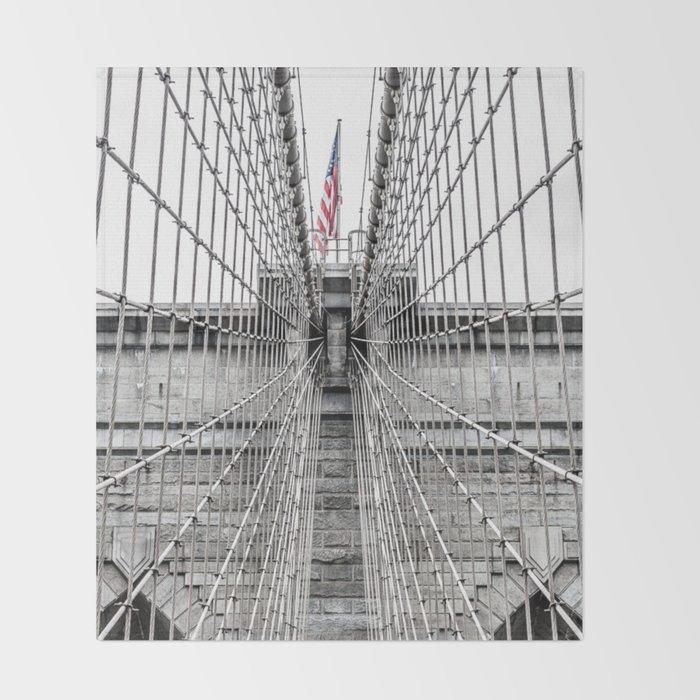 The Brooklyn Bridge and American Flag Throw Blanket