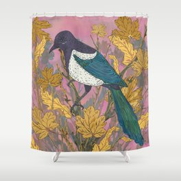 Magpie and Maple Shower Curtain