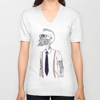 gentleman V-neck T-shirts featuring The Gentleman becomes a Hipster  by Mike Koubou