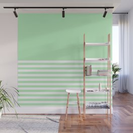 Mint Green Half Striped Wall Mural