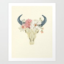 Bull skull floral tribal watercolor Art Print