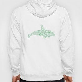 Green Monstera Whale Hoody