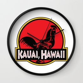 Kauai, Hawaii Jurassic Park Rooster Wall Clock