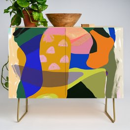 Shapes and Layers no.20 - Abstract painting olive green blue orange black Credenza