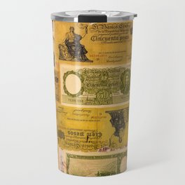 Numerous old banknotes of the Argentine Republic already out of circulation. Travel Mug