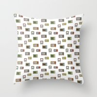 tv Throw Pillows featuring television by Kelly Tucker
