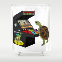 ninja turtle Shower Curtains featuring Arcade Ninja Turtle by Michowl