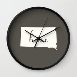 South Dakota is Home - White on Charcoal Wall Clock