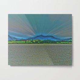 Mountains behind the lake Metal Print