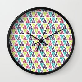 Geometrical pink lime abstract triangles pattern Wall Clock