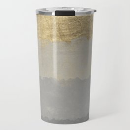 Geometrical ombre glacier gray gold watercolor Travel Mug