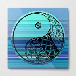 Yin Yang Zentangle on Blue Stripes Metal Print