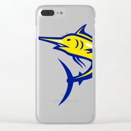 Blue Marlin Jumping Mascot Clear iPhone Case