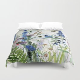 Wildflower in Garden Watercolor Flower Illustration Painting Duvet Cover