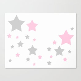 Pink Grey Gray Stars Canvas Print