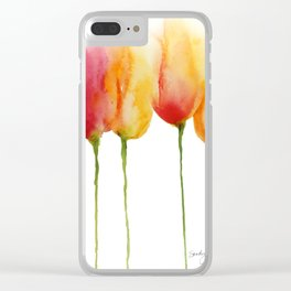 Flaming Tulips Clear iPhone Case