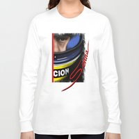 senna Long Sleeve T-shirts featuring Senna Helmet Portrait by Borja Sanz