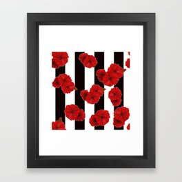 Red poppies on a black and white striped background. Framed Art Print
