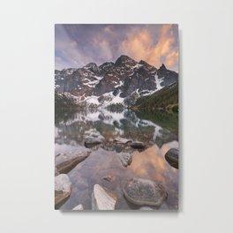 Morskie Oko lake in the Tatra Mountains, Poland at sunset Metal Print