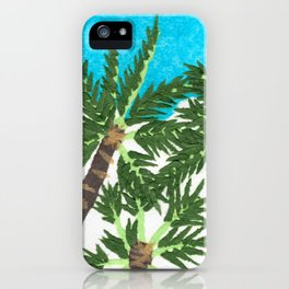 Palm Trees, Blue Sky, Paper Collage iPhone Case
