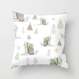 Christmas Snail  Throw Pillow