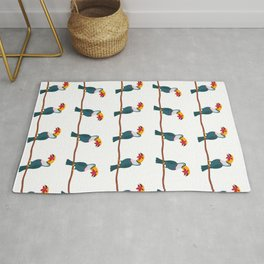 Tropical paradise. Cute toucans on branch Rug