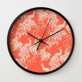 PEACOCK - coral Wall Clock