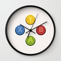 xbox Wall Clocks featuring Xbox - Buttons by dudsbessa
