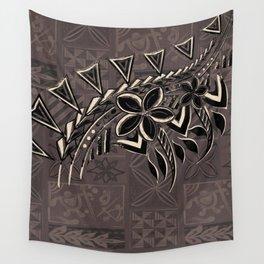 Vintage Hawaiian Tribal Petrogyph Pattern Wall Tapestry