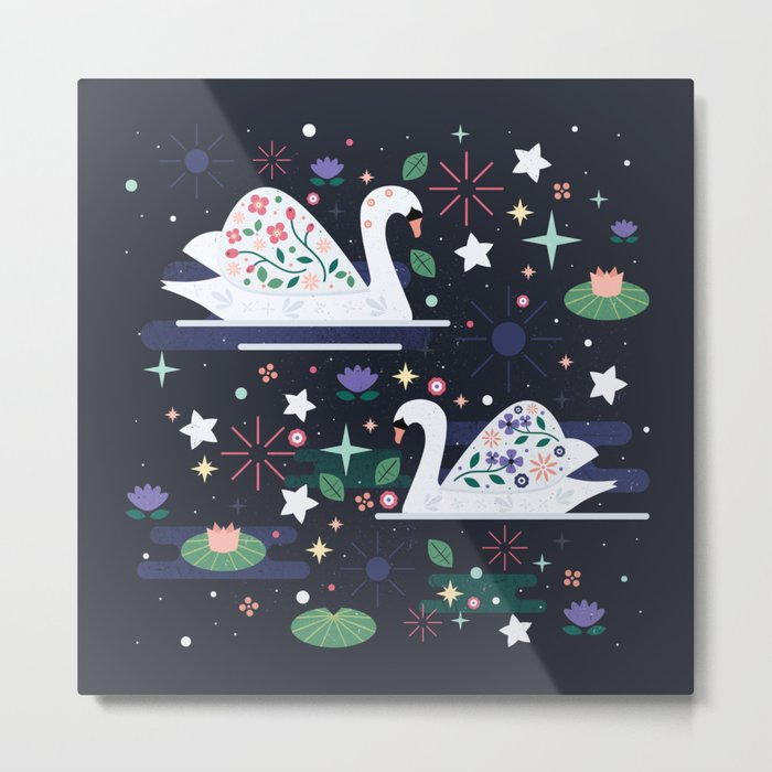 Swans on Stars Metal Print