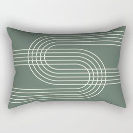 Geometric Lines in Sage Green 12 (Rainbow Abstract) Rectangular Pillow