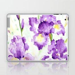 Watercolor Blue Iris Flowers Laptop & iPad Skin