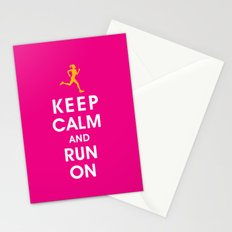 Keep Calm and Run On (female runner) Stationery Cards