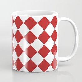 Diamonds - White and Firebrick Red Coffee Mug