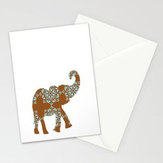 Floral Brown and Blue Elephant Stationery Cards