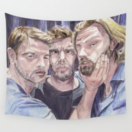 Team Free Will 2.: Misha Collins; Jared Padalecki and Jensen Ackles, watercolor painting Wall Tapestry